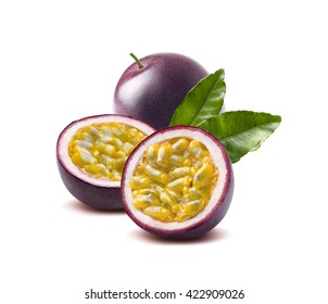 Passion fruit leaves passionfruit maraquia isolated on white background as package design element