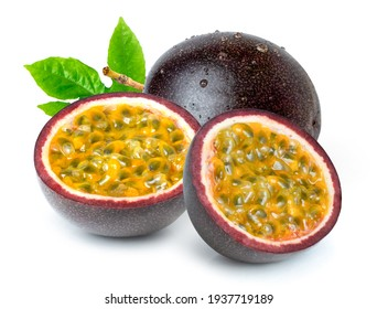 Passion fruit ( Maracuya Passiflora  ) with green leaf and cut in half slice isolated on white background.