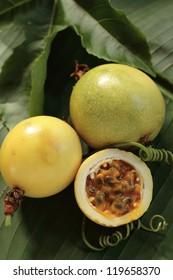 Passion fruit/ Marakuja/ lilikoi  on a tropical leaf. Hawaii, Maui, USA