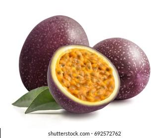 Passion fruit  maraquia whole and half isolated on white background