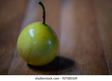 Passion fruit on table wood