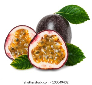 Passion fruit on the white background