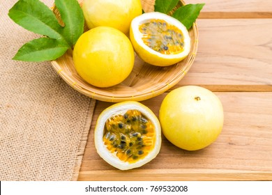 passion fruit on wood background