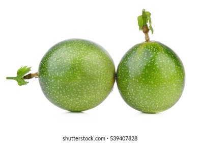 Passion fruit raw isolated on white background.