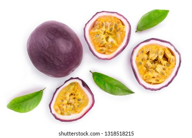 passion fruits with leaves isolated on white background with copy space for your text. Isolated maracuya. Top view. Flat lay