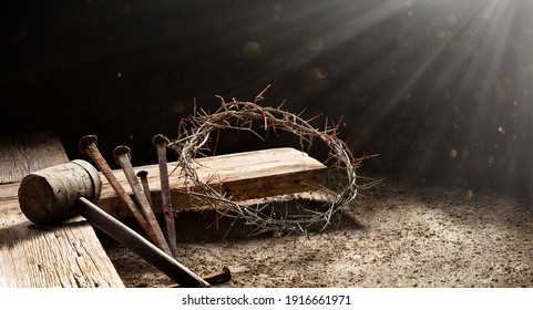 Passion Of Jesus  - Wooden Cross With Crown Of Thorns With Abstract Blurred Light