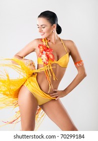 passion latin dancer in orange dress