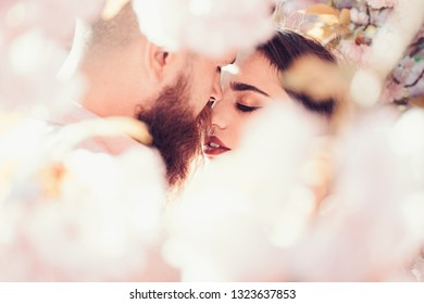 Passion and love concept. Man and woman kissing in blooming garden on spring day. Couple hugs near sakura trees. Couple in love spend time in spring garden, flowers on background, defocused, close up