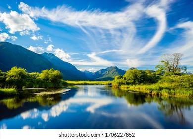 Passion of reflection along Pitt lake - Shutterstock ID 1706227852