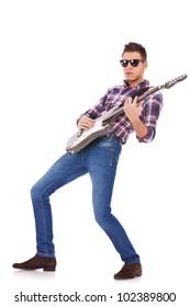 passionate guitarist playing
