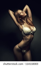 passionate hot woman in white lingerie