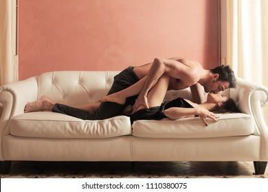Passionate lovers kissing