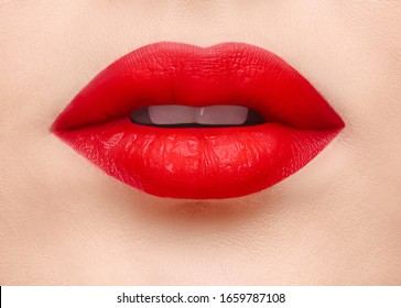 Passionate red lips Close up photo template Sensual female opened mouth with red matt lipstick