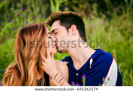 Passionate Romantic Young Couple Kissing Embracing Stock Photo Edit