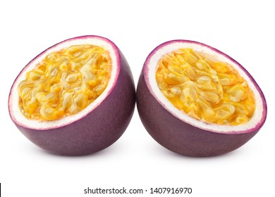 passionfruit isolated on white background, clipping path, full depth of field