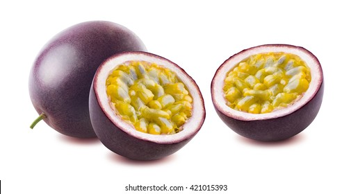 Passionfruit passion fruit maracuja isolated on white background as package design element