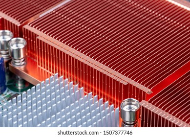 Passive copper and aluminium heat sinks used to cool electronics components