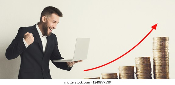 Passive income concept, formal businesman and growing stacks of coins, collage