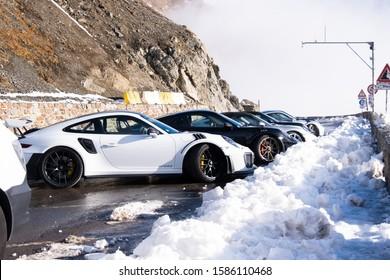 Passo dello stelvio Italy on October18,2019 : Race car on the road at Passo dello stelvio Italy.