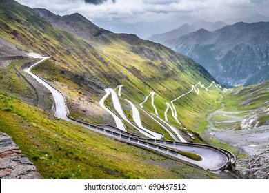 Passo dello Stelvio  - Stelvio pass in Italy, Ortler Alps, Italy - curvy road through mountains
