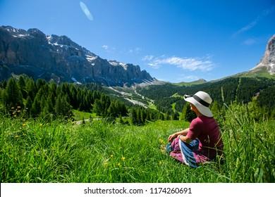 Passo Gardena landscape natural in Bolzano Italy