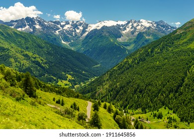 Passo Gavia, Brescia province, Lombardy, Italy: landscape along the mountain pass at summer