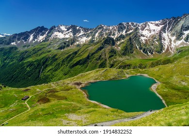 Passo Gavia, Brescia province, Lombardy, Italy: landscape along the mountain pass at summer. Lake