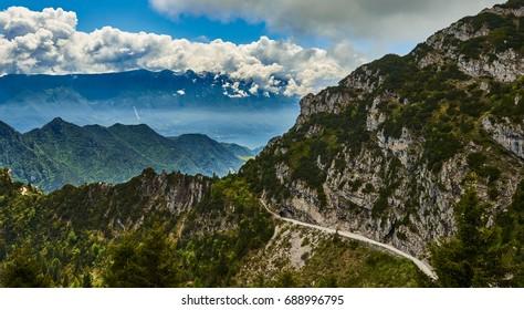 Passo Tremalzo,Trails to Passo Tremalzo, Lago di Garda region, Italy, Italian Dolomites-panoramic views from the Tremalzo On a cloudy day