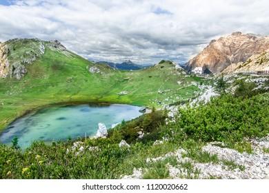 Passo Valparola Mountain Landscape view