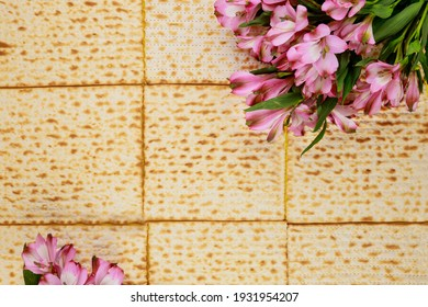 Passover background with matzah and flowers. Jewish holiday.