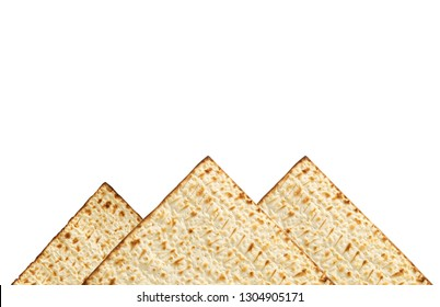 passover background with matzoh isolated on white as piramids