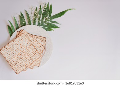 Passover background with matzoh and spring flower ranunculus. Top view with copy space. Happy Passover Spring Festive season greeting card. Jewish holidays arrangement