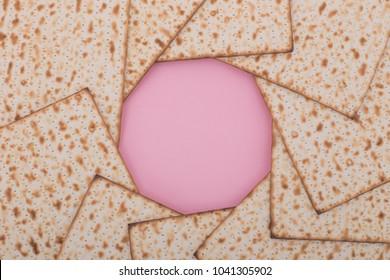 Passover background mock up Matzah mandala design flat lay pink Jewish holiday pesach Nisan