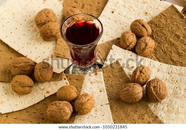 Passover Feast Unleavened Breadmatzah Breadsred Wine Stock Photo