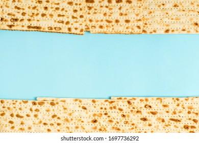 Passover holiday jewish matzo with matzo, frame for text from matzo