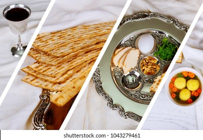 passover jewish food Pesach matzo and matzoh bread Photo collage different picture
