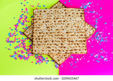 Passover Jewish holidays festive background. Matzah-traditional  unleavened  bread,  Pesach celebration symbol.