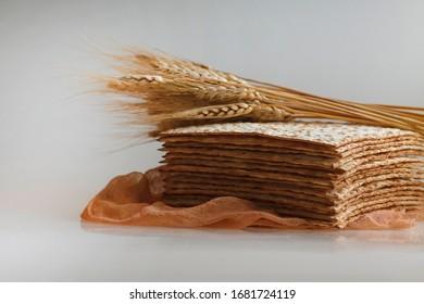 Passover matzahs isolated on white background