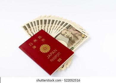 Passport and 10000 Yen bills