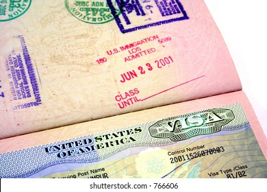 A passport with the American visa.