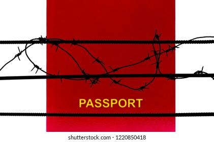 Passport behind barbed wire