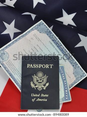 Passport Birth Certificate Social Security Card Stock Photo (Edit ...