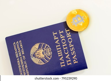 Passport, blue color and near is bitcoin.