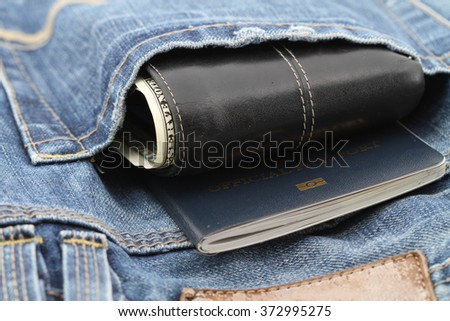 Passport Book Wallet Back Blue Jeans Stock Photo Edit Now