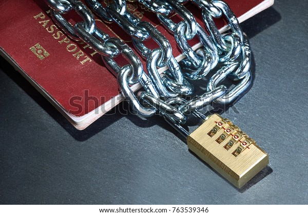 passport with a chain locked
