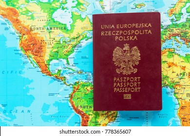 Passport of a citizen of Poland against the background of North America and South America. Poles immigration to America concept.