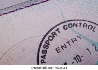 A passport control stamp in a British passport