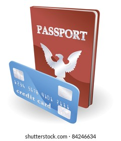 Passport and credit card illustration. Personal identity concept.