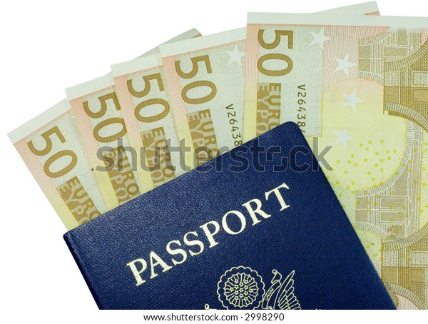 Passport with fifty Euro banknotes isolated on a white background.