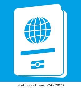 Passport icon white isolated on blue background  illustration